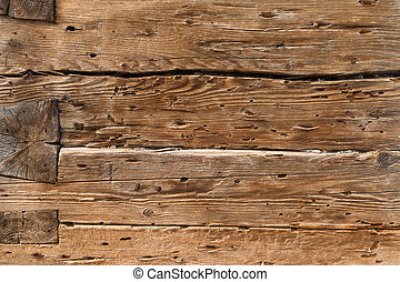 Ancient wooden beams - Detail of a construction of ancient...