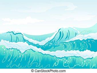 Blue sea wave and sky
