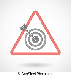 Warning signal with a dart board - Illustration of a warning...