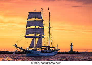 Sailing ship on the Baltic Sea in Rostock Germany