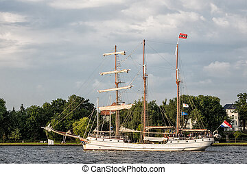 Sailing ship on the Hanseatic Sail in Rostock Germany
