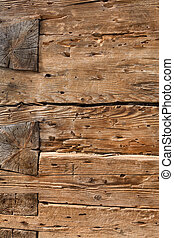 Construction of wooden beams - Detail of a construction of...