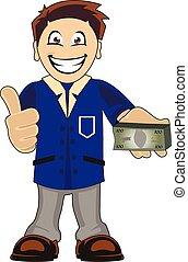 Banker - Funny cartoon illustration of a smiling bankeer