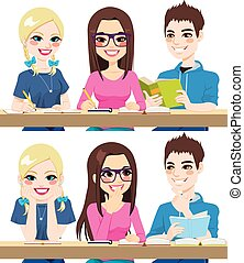 Students Studying - Students studying together working...