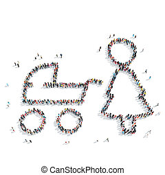 people form  mother  baby carriage