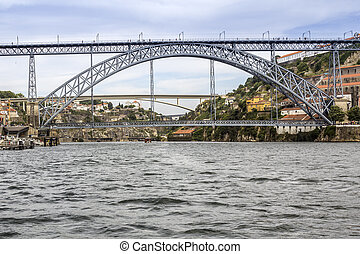 Panoramic from Douro river tour boat, view of Maria Pia and...