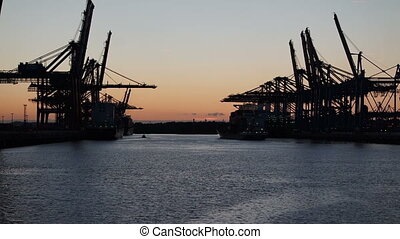 hamburg harbor at sunset
