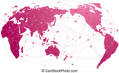 global travel by airplane.