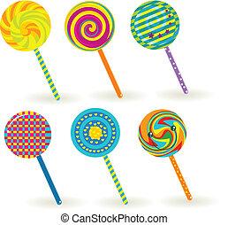 lollipop - sixe colorful lollipops.