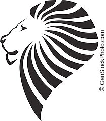 Lion head silhouette on white background - vector...