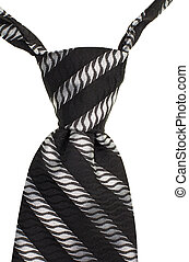 tie knot isolated on white background - the black and gray...