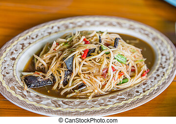 Som Tum, Thai papaya salad,Popular local cuisine of Thailand