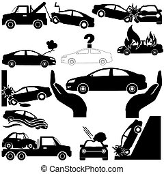 Car crash and car insurance icons in silhouette. In vector...