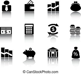 Black financial icons - various financial icons with images...