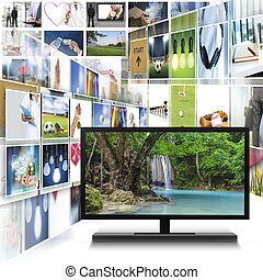 Computer monitor with Digital photo gallery images