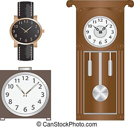 clocks - Various clock-watches, wall clocks and alarm clock