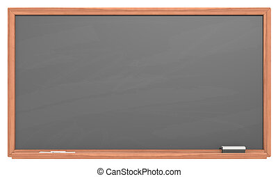 Black Chalkboard - Blank chalkboard with wooden frame Chalk...