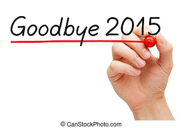 Goodbye 2015 - Hand underlining Goodbye 2015 with red marker...