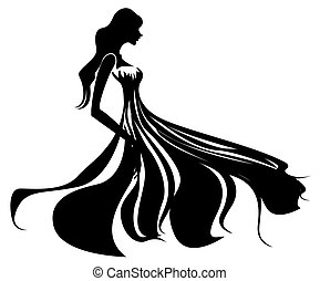female silhouette - illustration drawing of beautiful black...