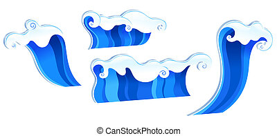 waves - drawing of beautiful waves in a white background