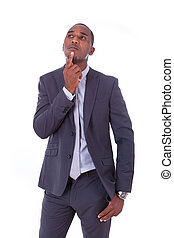 African american business man over white background - Black...