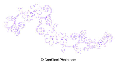 purple flower pattern - illustration drawing of beautiful...