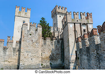Old Castle in the city Sirmione at the lago di Garda...