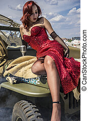 beautiful woman with pinup style of the Second World War,...