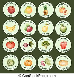 Watercolor set of icons vegetables and fruits, vector...