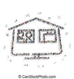 group people shape house - A group of people in the shape of...