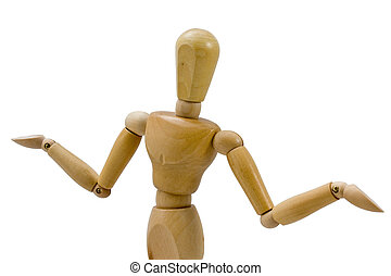 Unsure - A wooden figure gesturing in an unsure pose