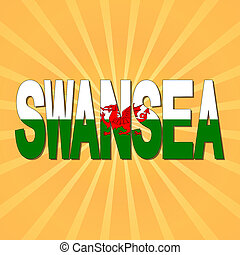 Swansea flag text with sunburst illustration