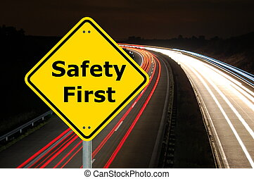 safety - yellow sign with safety first as aid concept...