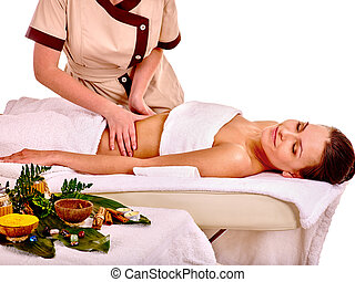 Woman getting spa therapy outdoor. - Young woman getting spa...