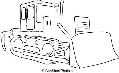 Outline of bulldozer, vector illustration