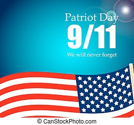 Patriot Day the 11/9 Label, We Will Never Forget  Vector Illustration
