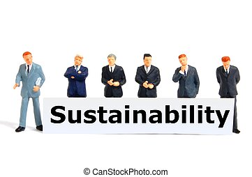 sustainability or ecology concept with toy business man on...