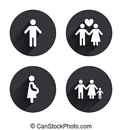 Family lifetime icons. Couple love and pregnancy - Family...