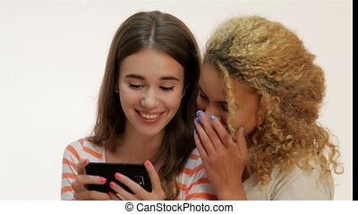Two young girls make selfie