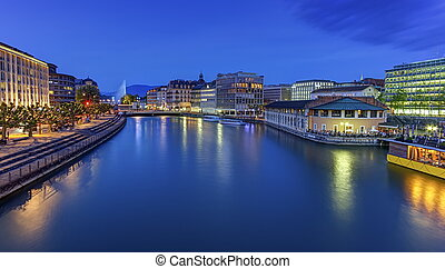 Urban view with famous fountain and Rhone river, Geneva,...