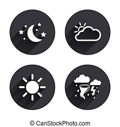 Cloud and sun icon. Storm symbol. Moon and stars - Weather...