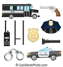 Set of police objects Car and bus, handcuffs and baton,...