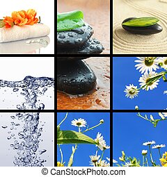 spa collage or collection with stone candle and water images