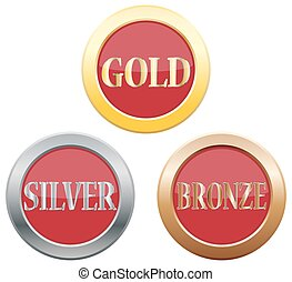 Gold Silver Bronze Icons - Gold Silver Bronze icons isolated...