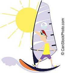 Windsurfing - Comic man goes in for windsurfing