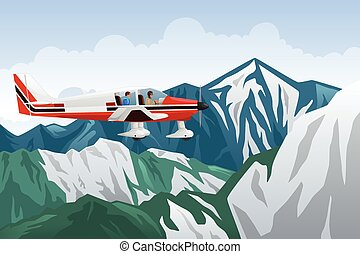 Small Airplane Flying Across the Mountains - A vector...