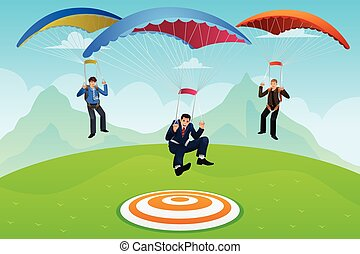 Businessmen with a Parachute - A vector illustrator...