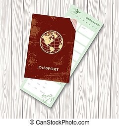 passport and boarding pass vector illustration Airplane...