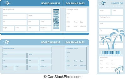 blue ticket - Airline boarding pass Blue ticket isolated on...