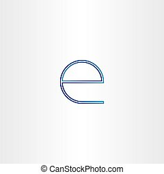 blue small letter e line icon design
